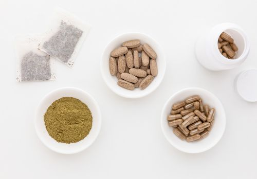 Horny goat weed tea, powder, capsules and tablets
