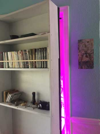 Example of a stealthy marijuana grow room hidden behind a secret door (the purple light is from the LED grow lights)